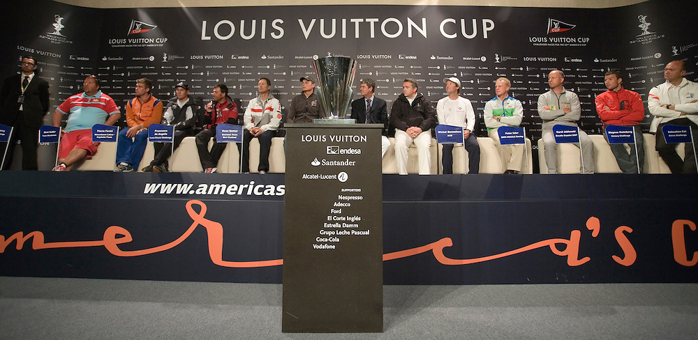 14/04/07 America's Cup 2007 Louis Vuitton Cup Skippers' Opening Press Conference..From left to right: Pierre Mas (FRA), China Team; Iain Percy (GBR), +39; Mark Sadler (RSA), Team Shosholoza; Flavio Favini (ITA) Mascalzone Latino-Capitalia Team; Francesco de Angelis (ITA), Luna Rossa Challenge; Dean Barker (NZL), Emirates Team New Zealand; Yves Carcelle (FRA), CEO President of Louis Vuitton; Michel Bonnefous (FRA), Director of ACM; Peter Isler (USA), BMW Oracle Racing; Karol Jablonski (POL), Desafio Espanol; Magnus Holmberg (SWE), Victory Challenge; Sebastian Col (FRA), Areva Challenge; Jesper Bank (DEN), United Internet Team Germany.