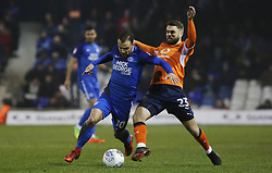 Danny Lloyd of Peterborough United in action with Josh McQuoid of Luton Town - Mandatory by-line: Joe Dent/JMP - 09/01/2018 - FOOTBALL - Kenilworth Road - Luton, England - Luton Town v Peterborough United - Checkatrade Trophy