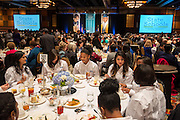 Guests enjoy lunch during the Houston ISD State of the Schools luncheon at the Hilton of the Americas, February 26, 2014.