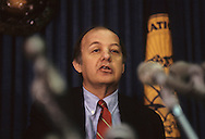 James Brady at a press conference at the National Press Club in 1989...Photograph by Dennis Brack BB31