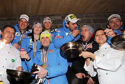 13.02.2013, Haus Ski Austria, Schladming, AUT, FIS Weltmeisterschaften Ski Alpin, Medaillen Party, im Bild v.l. Romed Baumann, Carmen Thalmann, Michaela Kirchgasser, Philipp Schörghofer, Nicole Hosp, Marcel Matthis, Marcel Mathis // at the Medal Party during FIS Ski World Championships 2013 at the Haus Ski Austria, Schladming, Austria on 2013/02/13. EXPA Pictures © 2013, PhotoCredit: EXPA/ Johann Groder