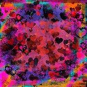 """Dark and passionate grunge hearts abstract mixed media digital art in pink, black, red, purple, turquoise, gold and orange. This vibrant red digital mixed media work coordinates with others in my """"Grunge Hearts"""" series especially designed for Valentine's Day 2014.You can also buy Samsung Galaxy, iPod, iPhone, and iPad cases with this fun grunge inspired design """"here"""":http://www.redbubble.com/people/campyphotos/works/11433017-passionate-hearts?c=262454-valentines-day-cards-and-gifts. Special thanks to r4fay/brusheezy.com for designing the """"Damned Hearts"""":http://www.brusheezy.com/brushes/1709-damned-hearts Photoshop brush cutout incorporated into this work and used with permission."""