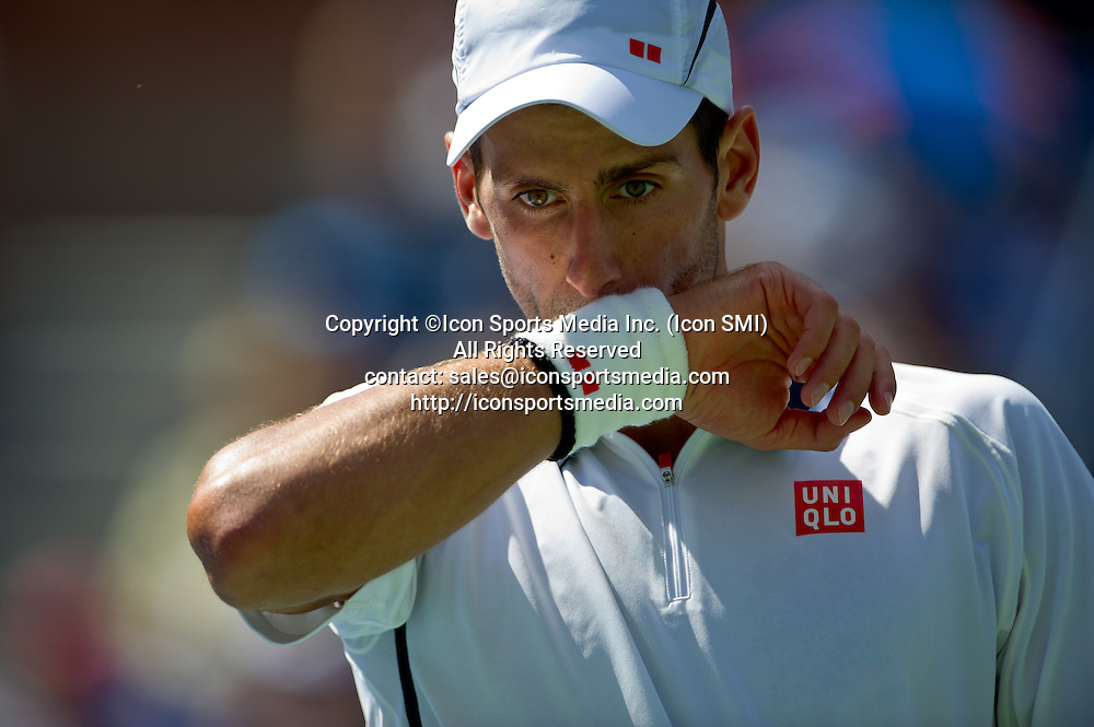 September 9, 2012: Novak Djokovic of Serbia (SRB) defeated Spain's David Ferrer (ESP) in their semifinal Men's Singles match on Day 14 of the 2012 U.S. Open Tennis Championships at the USTA Billie Jean King National Tennis Center in Flushing, Queens, New York, USA. ***** SWITZERLAND OUT *****