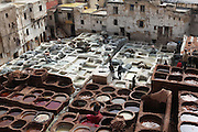 The tannery in Fez, Morocco, where hides have been tanned using the same traditional process for over 1,000 years.