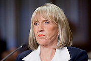 Apr. 20, 2009 -- PHOENIX, AZ: JAN BREWER, Governor of Arizona, testifies before the Senate committee hearing in Phoenix Monday. The US Senate Committee on Homeland Security and Government Affairs, chaired by Sen. Joe Lieberman (Ind-CT), held a hearing about local perspectives on border violence in the Phoenix City Council chambers in Phoenix, AZ, Monday.   Photo by Jack Kurtz