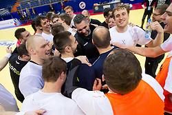 Miha Zvizej, Dragan Gajic, Boris Denic, David Miklavcic during practice session of Slovenia National Handball team during 10th EHF European Handball Championship Serbia 2012, on January 17, 2012 in Millennium Center, Vrsac, Serbia. (Photo By Vid Ponikvar / Sportida.com)