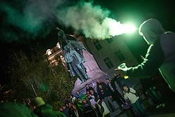 Green Dragons, ultras supporters of Ljubljana's football, basketball and ice-hockey clubs Olimpija celebrating 25th anniversary in City Centre, on October 17, 2013 at Preseren Square, Ljubljana, Slovenia. (Photo by Matic Klansek Velej / Sportida)