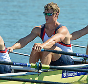 Varese,  ITALY. 2012 FISA European Championships, Lake Varese Regatta Course. ..GBR M4X. Nicolas MIDDLTON, at the start of their heat of the Men's Quadruple Sculls Four...{TIME  {DOW}  14/09/2012.....[Mandatory Credit Peter Spurrier:  Intersport Images]  ..2012 European Rowing Championships ..Rowing, European,  2012 010758.jpg....