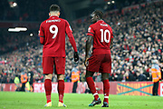 Liverpool striker Sadio Mane (10) celebrates his goal 4-2 with Liverpool striker Roberto Firmino (9) during the Premier League match between Liverpool and Crystal Palace at Anfield, Liverpool, England on 19 January 2019.