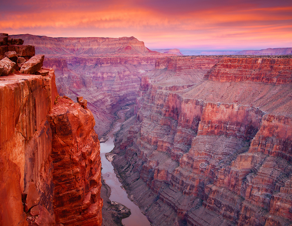 Sunset over Grand Canyon National Park and the Colorado River from Toroweap.