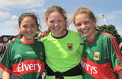 Sunny Days in Salthill with Mayo Supporters Emma Jennings, Caoimhe Gibbons and Sarah Barrett from Castlebar at Pearse Stadium for the Connacht Championship semi-final.<br /> Pic Conor McKeown