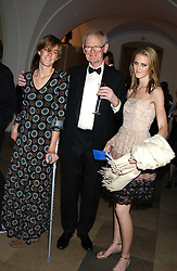 Left to right, SARAH WHEELER, SIR STUART WHEELER and  CHARLOTTE WHEELER at a dinner attended by the Conservative leader Michael Howard and David Davis and David Cameron held at the Banqueting Hall, Whitehall, London on 29th November 2005.<br />