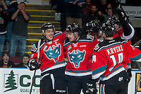 KELOWNA, CANADA - NOVEMBER 18: Rodney Southam #17, Kyle Topping #24 and Jake Kryski #14 of the Kelowna Rockets celebrate a first period goal against the Vancouver Giants on November 18, 2016 at Prospera Place in Kelowna, British Columbia, Canada.  (Photo by Marissa Baecker/Shoot the Breeze)  *** Local Caption ***
