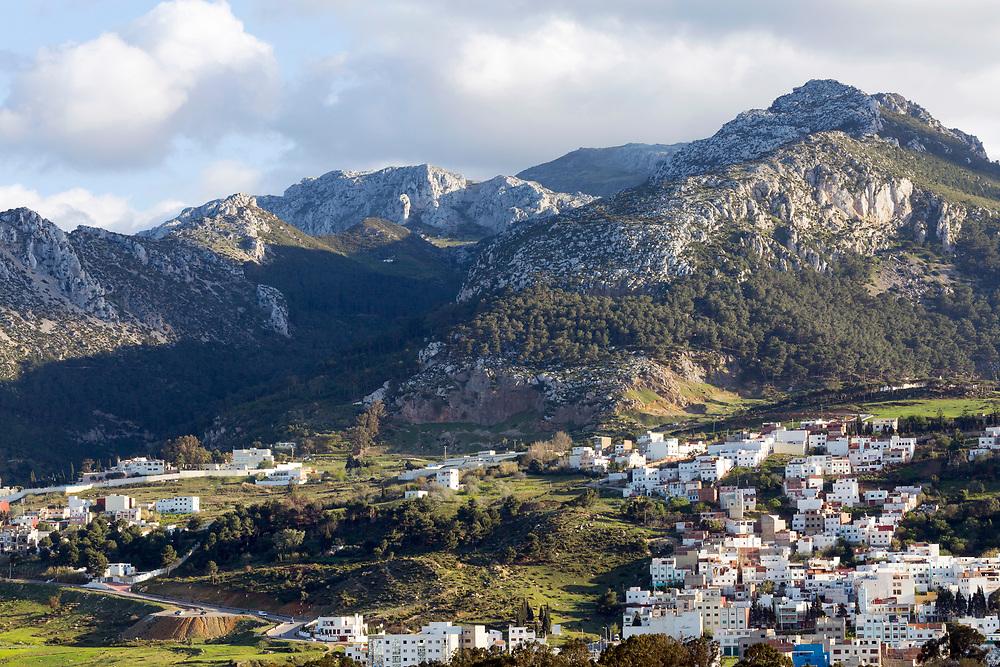 TETOUAN, MOROCCO - 5th April 2016 - Rif Mountain Landscape of Tetouan Medina and surrounding mountains, Rif region of Northern Morocco.