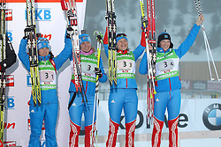11.12.2011, Biathlonzentrum, Hochfilzen, AUT, E.ON IBU Weltcup, 2. Biathlon, Hochfilzen, Staffe lDamen, im BildDritter Platz Sleptsova Svetlana (Team RUS) Sorokina Natalia (Team RUS) Bogaliy-Titovets Anna (Team RUS) und Zaitseva Olga (Team RUS) // during Team Relay E.ON IBU World Cup 2th Biathlon, Hochfilzen, Austria on 2011/12/11. EXPA Pictures © 2011. EXPA Pictures © 2011, PhotoCredit: EXPA/ nph/ Straubmeier..***** ATTENTION - OUT OF GER, CRO *****