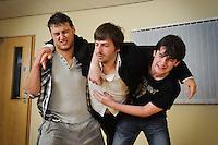 "Selected cast members of the stage play ""Stags & Hens' seen here in rehearsal. Pictured LtoR Kurt Tobin, Tim Bettridge, Seb Pryboda"