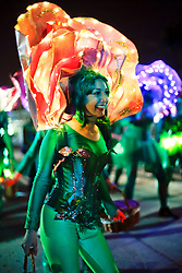 29 January 2016. New Orleans, Louisiana.<br /> Dancers at The Krewe of Cleopatra, kicking off the main parading season of Mardi Gras in New Orleans with floats filled with riders dispensing beads and throws, marching bands and dance troupes. Families line the streets Uptown to cheer on Cleopatra - 'Throw me something Mister!'<br /> Photo©; Charlie Varley/varleypix.com
