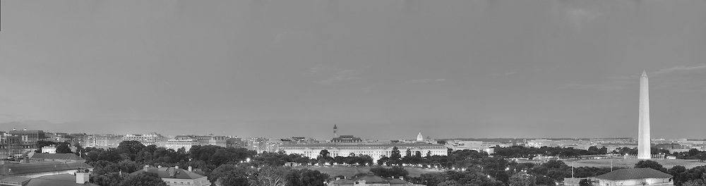 Panoramic View of Washington, DC.  Includes The Capitol, Washington Monument, Smithsonian Mall, The White House, among other Washington, DC landmarks and Washington, DC Monuments. Print Sizes (inches): 15x4; 24x6.5; 36x10; 48x12.5; 60x16; 72x19