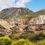 A landscape of the Tabernas Desert in Almeria province, Andalucia, Spain.