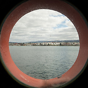 Porthole view of Punta Arenas, Chile