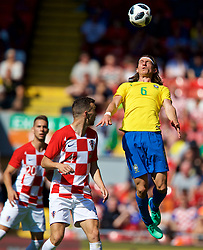 LIVERPOOL, ENGLAND - Sunday, June 3, 2018: Brazil's Filipe Luís Kasmirski during an international friendly between Brazil and Croatia at Anfield. (Pic by David Rawcliffe/Propaganda)