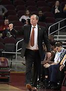 Long Beach State 49ers coach Dan Monson reacts during an NCAA basketball game against the Southern California Trojans  in Los Angeles, Nov 28, 2018. USC defeated Long Beach State 75-65.