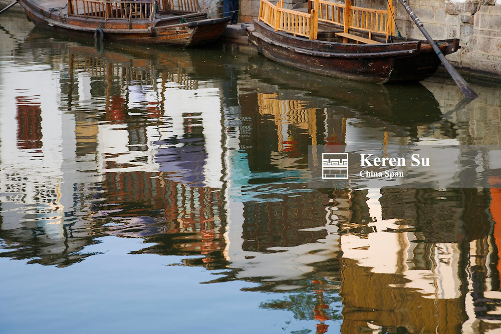 Reflection of traditional architecture in the Grand Canal in the water town, Zhujiajiao, near Shanghai, China