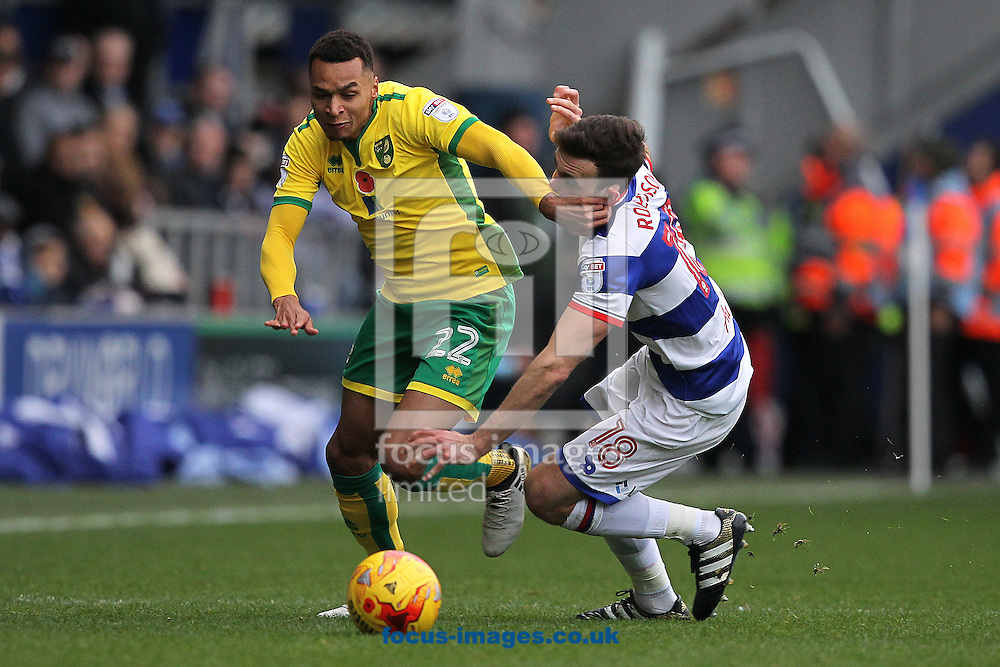 Jacob Murphy of Norwich and Jack Robinson of Queens Park Rangers in action during the Sky Bet Championship match at the Loftus Road Stadium, London<br /> Picture by Paul Chesterton/Focus Images Ltd +44 7904 640267<br /> 19/11/2016