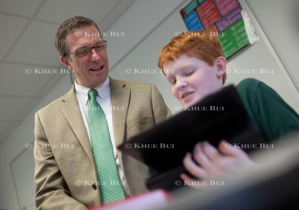 Scott Baytosh, Head of the Alexandria Country Day School, is shown with students at the school Tuesday, February, 23, 2016, in Alexandria, VA.<br /> <br /> Photo by Khue Bui