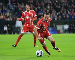 MUNICH, Sept. 13, 2017  Bayern Munich's Franck Ribery (front) controls the ball during the first round of UEFA Champions League (UCL) group match between Bayern Munich of Germany and RSC Anderlecht of Belgium, in Munich, Germany, on Sept. 12, 2017. Bayern Munich won 3-0. (Credit Image: © Philippe Ruiz/Xinhua via ZUMA Wire)
