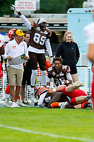 KELOWNA, BC - AUGUST 17:  Chan Lual #89 celebrates after Jonah Williams #34 of Okanagan Sun intercepts the ball and is tackled at the sideline by the Westshore Rebels  at the Apple Bowl on August 17, 2019 in Kelowna, Canada. (Photo by Marissa Baecker/Shoot the Breeze)
