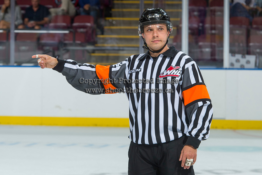 KELOWNA, CANADA - SEPTEMBER 2: A referee on September 2, 2017 at Prospera Place in Kelowna, British Columbia, Canada.  (Photo by Marissa Baecker/Shoot the Breeze)  *** Local Caption ***