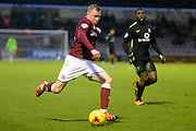 Northampton Town Midfielder Nicky Adams gets in a cross during the Sky Bet League 2 match between Northampton Town and York City at Sixfields Stadium, Northampton, England on 6 February 2016. Photo by Dennis Goodwin.