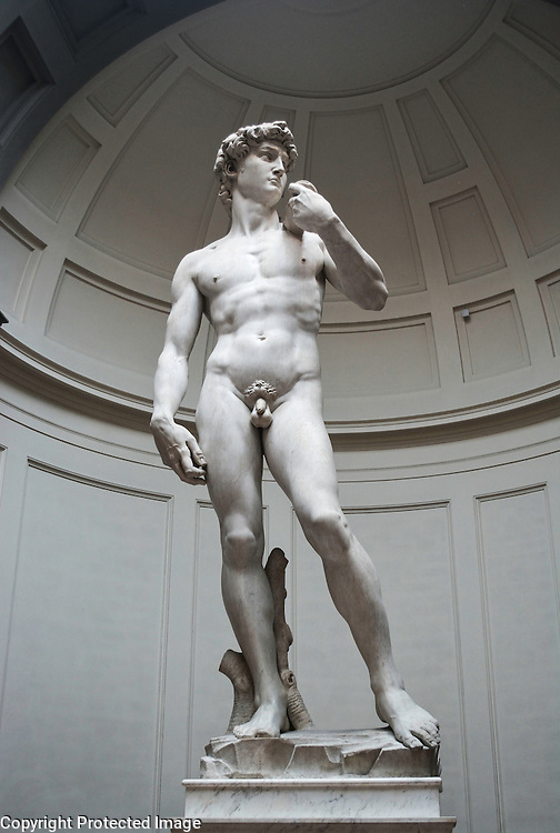 Full view of The David, Michelangelo's famous Renaissance masterpiece