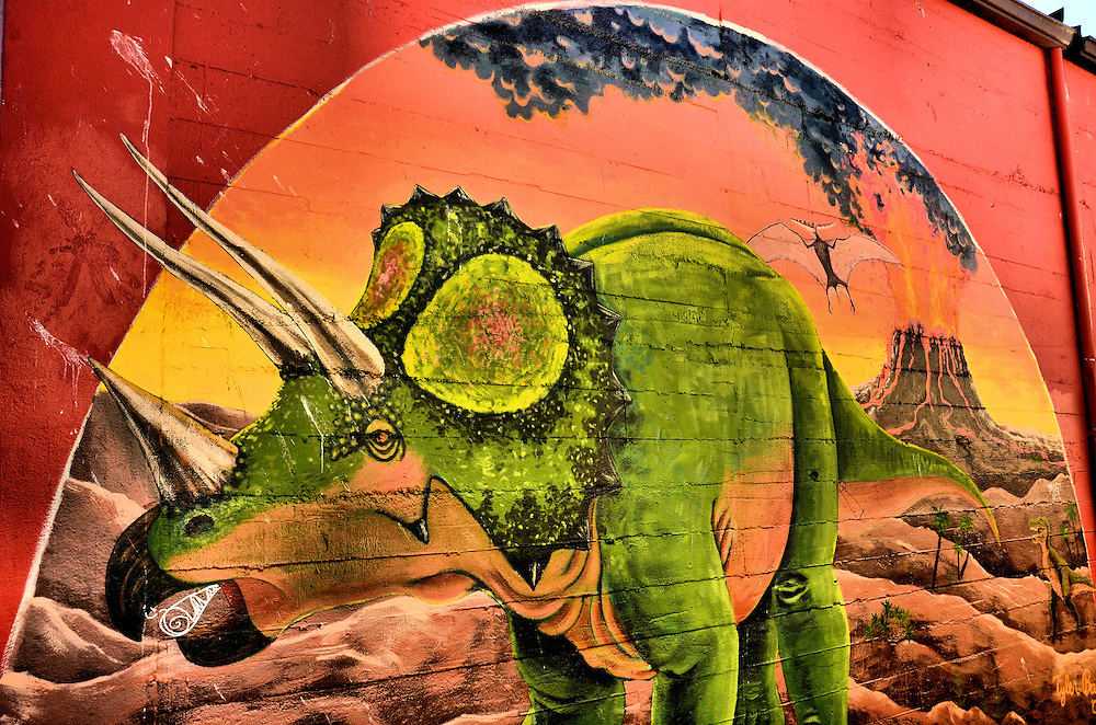 Triceratops Dinosaur and Flying Pterosaur Mural in Olympia, Washington<br />