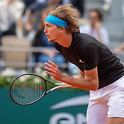 PARIS, FRANCE June 06.  Alexander Zverev of Germany in action during his match against Novak Djokovic of Serbia on Court Philippe-Chatrier during the Men's Singles Quarter Final match at the 2019 French Open Tennis Tournament at Roland Garros on June 6th 2019 in Paris, France. (Photo by Tim Clayton/Corbis via Getty Images)
