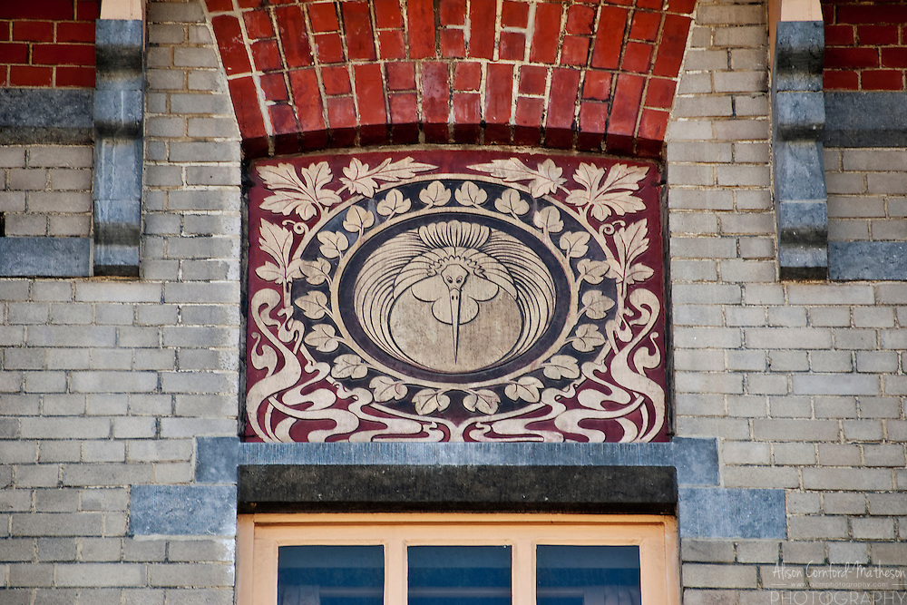 An Art Nouveau detail in the Ambiorix neighborhood of Brussels, Belgium.