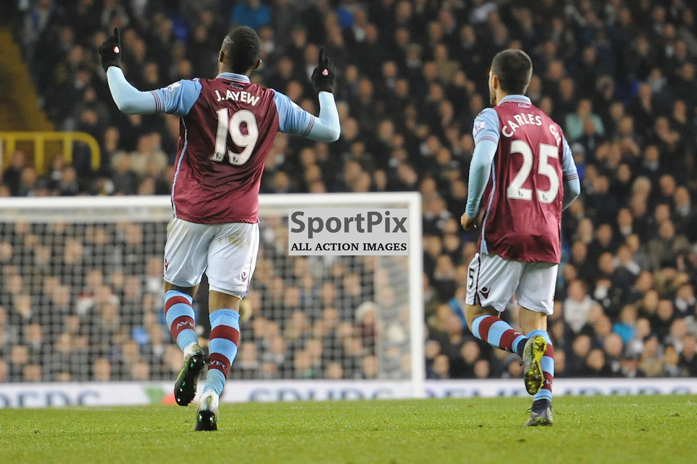 Aston Villas Jordan Ayew celebrates his goal during the Tottenham v Aston Villa match in the Barclays Premier League on the 2nd November 2015