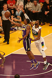 February 27, 2019 - Los Angeles, CA, U.S. - LOS ANGELES, CA - FEBRUARY 27: Los Angeles Lakers Guard Rajon Rondo (9) scoops a shot during the first half of the New Orleans Pelicans versus Los Angeles Lakers game on February 27, 2019, at Staples Center in Los Angeles, CA. (Photo by Icon Sportswire) (Credit Image: © Icon Sportswire/Icon SMI via ZUMA Press)