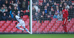 LIVERPOOL, ENGLAND - Saturday, January 8, 2011: Crystal Palace's Ibra Sekajja celebrates scoring the opening goal against Liverpool during the FA Youth Cup 4th Round match at Anfield. (Pic by: David Rawcliffe/Propaganda)
