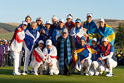Auchterarder, Scotland, UK. 15 September 2019. Sunday final day at 2019 Solheim Cup on Centenary Course at Gleneagles. Pictured; Victorious Europe Team and John  Solheim with the Solheim Cup. Iain Masterton/Alamy Live News
