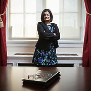 Freshman Representative Pramila Jayapal (D-WA, 7) inside her Washington, D.C. congressional office on January 31, 2017. Rep. Jayapal was sworn into Congress on January 3, 2017 and is the first Indian-American woman to serve in the United States House of Representatives. She is the first woman to represent the 7th District (Washington) in Congress and the first Asian-American to represent the state of Washington in Congress. For The Stranger (Seattle, WA)