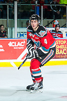 KELOWNA, CANADA - NOVEMBER 11: Gordie Ballhorn #4 of Kelowna Rockets skates against the Vancouver Giants on November 11, 2015 at Prospera Place in Kelowna, British Columbia, Canada.  (Photo by Marissa Baecker/ShoottheBreeze)  *** Local Caption *** Gordie Ballhorn;