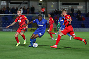 AFC Wimbledon defender Paul Kalambayi (30) dribbling during the Leasing.com EFL Trophy match between AFC Wimbledon and Leyton Orient at the Cherry Red Records Stadium, Kingston, England on 8 October 2019.