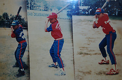 A series of 3 photos that the Cabrera family has in one frame.  It shows Miguel Cabrera at age 9, 10 and 11 (left to right).