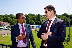CARDIFF, WALES - Thursday, June 1, 2017: Welsh Football Trust Chief Executive Neil Ward [R] and Vaughan Gethin Cabinet Secretary for Health, Well-being and Sport during the FAW National Women's & Girls Football Festival in at the Cardiff University Sports Fields in Llanrumney. (Pic by David Rawcliffe/Propaganda)