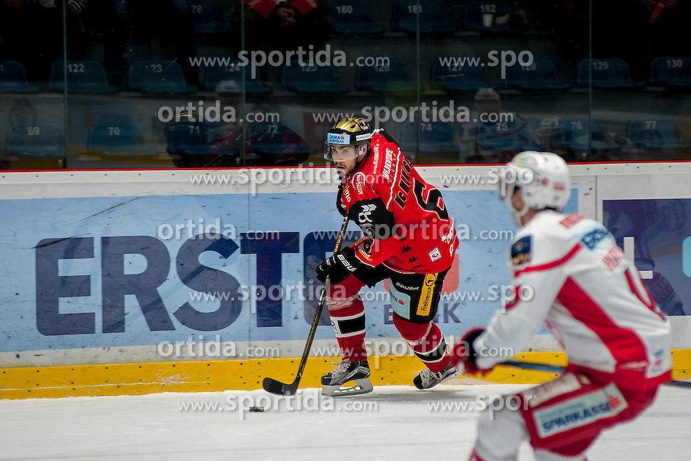 13.01.2017, Ice Rink, Znojmo, CZE, EBEL, HC Orli Znojmo vs EC KAC, 43. Runde, im Bild v.l. Sean McMonagle (HC Orli Znojmo) Mark Hurtubise (EC KAC) // during the Erste Bank Icehockey League 43th round match between HC Orli Znojmo and EC KAC at the Ice Rink in Znojmo, Czech Republic on 2017/01/13. EXPA Pictures © 2017, PhotoCredit: EXPA/ Rostislav Pfeffer