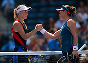 Caroline Wozniacki of Denmark and Samantha Stosur of Australia meet at the net after the first round of the 2018 US Open Grand Slam tennis tournament, at Billie Jean King National Tennis Center in Flushing Meadow, New York, USA, August 28th 2018, Photo Rob Prange / SpainProSportsImages / DPPI / ProSportsImages / DPPI