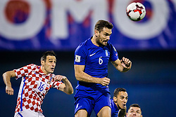 Nikola Kalinic of Croatia and Alexandros Tziolis of Greece during the football match between National teams of Croatia and Greece in First leg of Playoff Round of European Qualifiers for the FIFA World Cup Russia 2018, on November 9, 2017 in Stadion Maksimir, Zagreb, Croatia. Photo by Ziga Zupan / Sportida