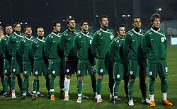 Slovenian national team singing national song - hymn before the UEFA Friendly match between national teams of Slovenia and Denmark at the Stadium on February 6, 2008 in Nova Gorica, Slovenia.  Slovenia lost 2:1. From left: Zlogar, Novakovic, Kirm, Brecko, Sisic, Handanovic S, Ilic, Cesar, Jukan, Morec and Birsa.  (Photo by Vid Ponikvar / Sportal Images).